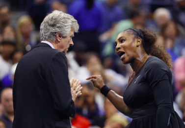 Serena Williams angrily argues with the referee during the women's final of the U.S. Open Tournament.  Photo courtesy of: AP News