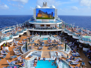 On board the Royal Caribbean, its visitors relax contentedly.