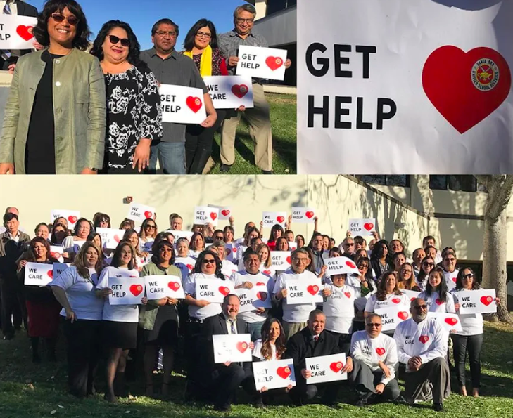 SAUSD Leaders & Staff after recording the awareness suicide video.  Photo Courtesy of sausd.us website