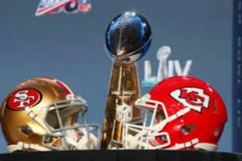 The 49ers and Chiefs helmet with the 2020 super bowl trophy. Photo courtesy of: Vox