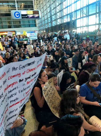 Picture taken during a travel ban protest in Los Angeles airport.Photo courtesy of: Wiki Commons