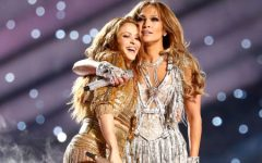 Shakira and Jennifer Lopez hugging after their performance. Photo courtesy of: Google