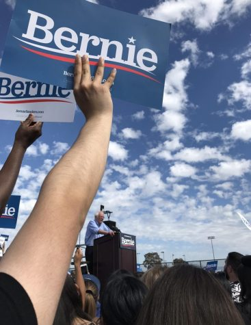 Bernie beginning his rally with thousands of people cheering him on at Valley High School.