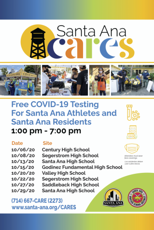 Santa Ana's digital flyer contains dates and contacts for more information about the Santa Ana CARES program. Photo Courtesy of: City of Santa Ana and SAUSD