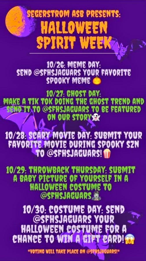 The original copy of the Halloween Spirit Week flyer; everyone is welcomed and encouraged to participate.