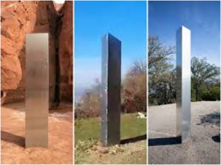 Photos of all three monolithic structures (left to right: San Juan County in Utah, Batca Doamnei Hill in northern Romania, Pine Mountain in California) - Photo Courtesy: Insider.com