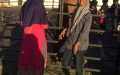 Sabira Mohammed attending an Islamic Society of Orange County (ISOC) event featuring a petting zoo.