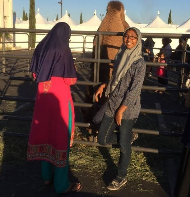 Sabira+Mohammed+attending+an+Islamic+Society+of+Orange+County+%28ISOC%29+event+featuring+a+petting+zoo.