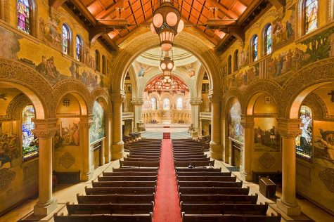 Photo Courtesy of: King of Hearts on Wikimedia Commons A picture of Stanford Memorial Church when it is empty.