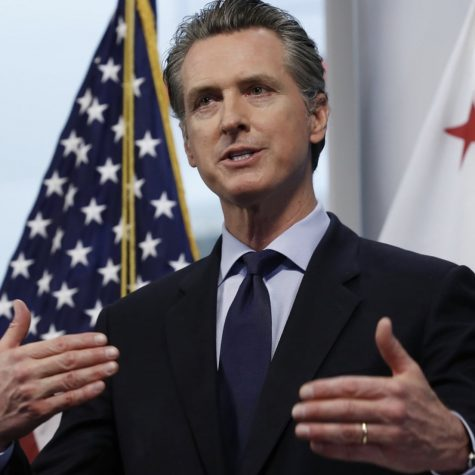 California governor Gavin Newsom discussing new COVID-19 policies. Photo courtesy of: The Guardian