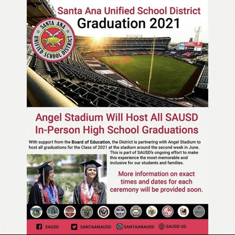 """SAUSD is partnering with @Angels Stadium to host all graduations for the Class of 2021 at the stadium around the second week of June. This is part of the ongoing effort to make this experience the most memorable and inclusive for our students and families"" Photo courtesy of Santa Ana Unified School District Instagram @santaanausd"