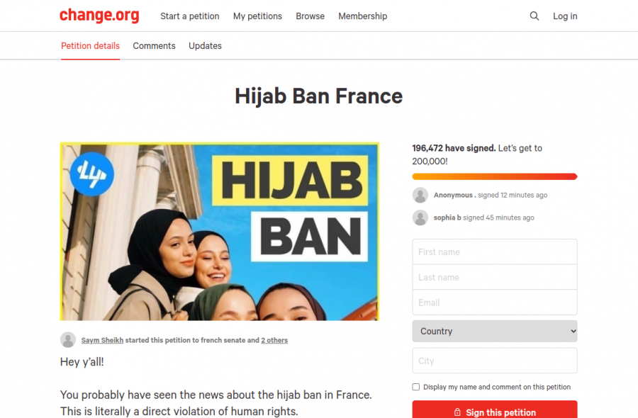 The+banning+of+the+hijab+in+France+has+ignited+a+lot+of+controversy+over+the+past+couple+of+weeks%2C+and+we+can+help+by+doing+something+as+simple+as+signing+our+name+on+a+petition+like+this+one+from+change.org.+As+of+April+23rd%2C+over+195%2C000+people+have+signed+it.