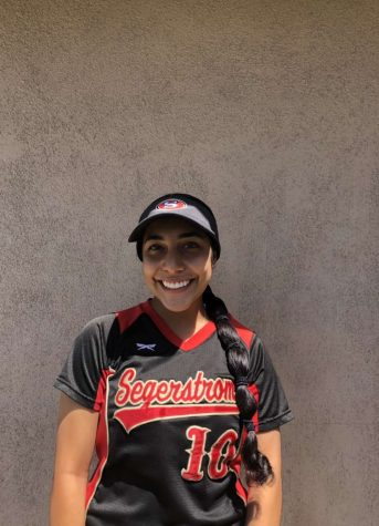 Gabby Muniz posing for a picture in her Varsity Uniform.  Photo Courtesy of: Gabby Muniz